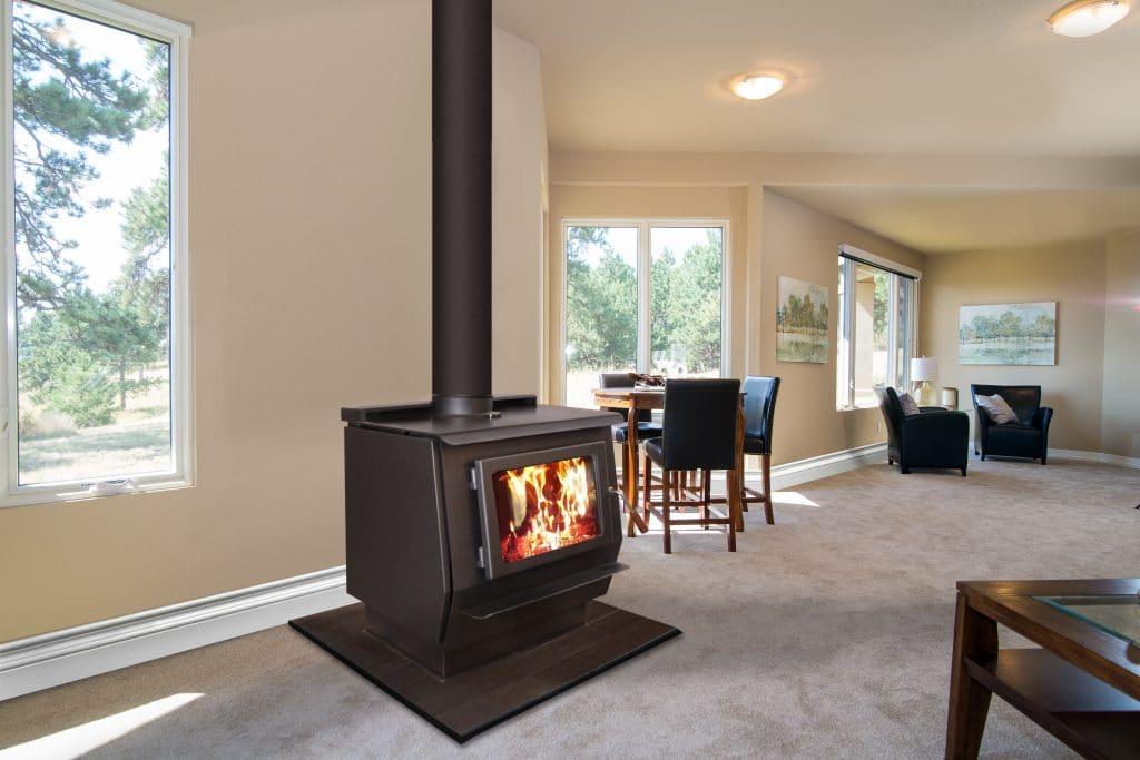free standing wood burning stove